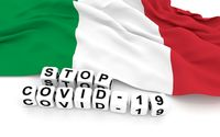 Italian flag and text stop covid-19.