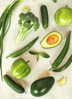 Green vegetables arranged on table