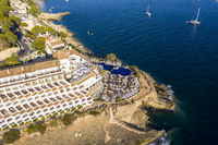 Aerial view over Costa de la Calma and Santa Ponca with hotels and beaches, Costa de la Calma, Caliva region, Mallorca, Balearic Islands, Spain