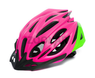 Female multicolor bicycle helmet isolated on white