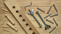 wood elements and metal hardware