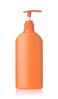 Orange plastic cosmetics pump bottle