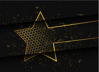 Gold abstract stars on dark background. Gold glitter star. Banner, poster template. Dark color luxury stars background