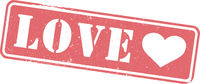 grungy red LOVE rubber stamp or sign with heart shape