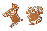 Gingerbread Dog And Squirrel Cookies Isolated