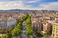 Barcelona Spain, high angle view city skyline at La Rambla street