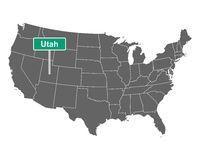Utah Ortsschild und Karte der USA - Utah state limit sign and map of USA