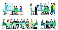 Business team at a cooperation, business meeting - illustration