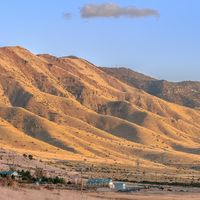 Square Mountains along the Utah Valley in golden light