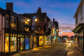 EAST GRINSTEAD, WEST SUSSEX/UK - JANUARY 4  : View of the town centre at night in East Grinstead on January 4, 2019
