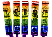 LGBQT letters with old typewriter hammers