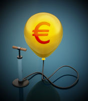 Manual hand pump connected to the inflated yellow balloon with Euro icon. 3D illustration