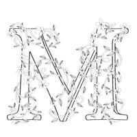 Letter M floral sketch