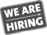 grungy WE ARE HIRING rubber stamp or sign