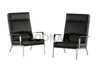Two black leather chairs with high backrest on a white background 3d rendering