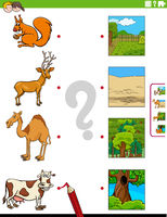 match animals and their environments educational task