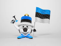 Soccer character fan supporting Estonia