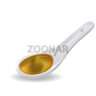Spoon with colored syrup, liquid 3D realistic style. Vector illustration