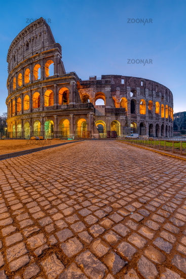 The famous Colosseum in Rome at dawn