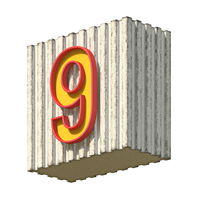 Vintage concrete red yellow Number 9 3D