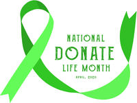 National donate life month. Vector illustration with green ribbon on light