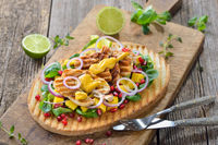 Large fruity toast with chicken and mango