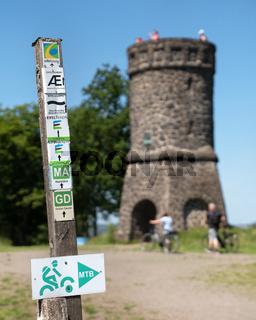 Waymark of Eifelsteig close to Schalkenmehren, Germany