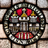 Stained glass window in the town hall, Stade, Lower Saxony, Germany, Europe