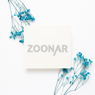Memo pad, empty paper with blue gypsophila dry flowers on white background. top view, copy space
