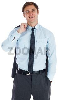 Smiling businessman holding his jacket