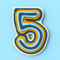 Colorful paper layers font Number 5 FIVE 3D