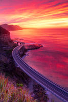 Beautiful sunrise over Illawrra coast with Sea Cliff Bridge