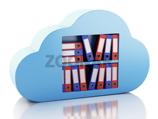 3d File storage in cloud. Cloud computing concept.