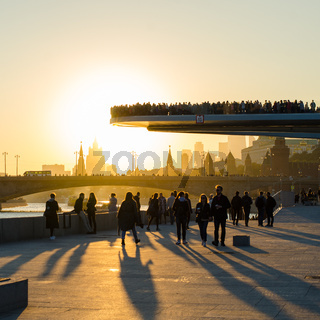 The floating bridge and Moscow Kremlin at sunset