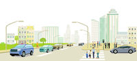 Cityscape with people and road traffic, illustration