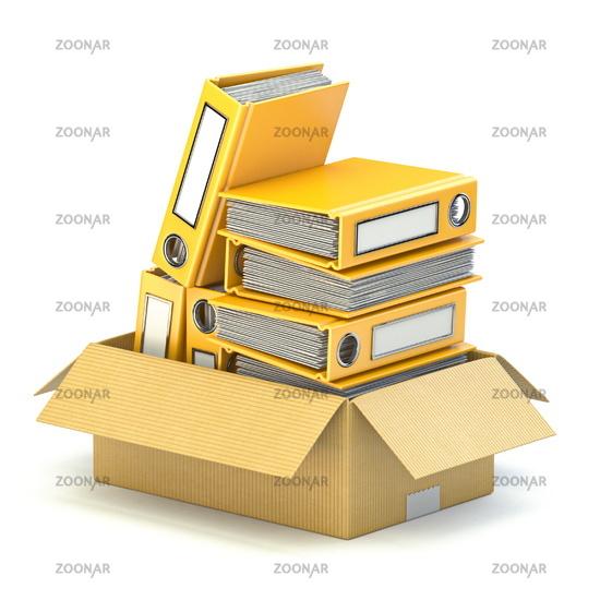 Yellow file folders in cardboard box 3D