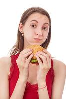 girl eats cheeseburger