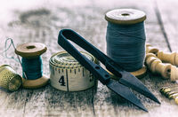 seamstress tape, thimble for sewing