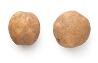 Two Organic Potatoes Isolated Over White Background
