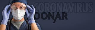 Banner of Female Doctor or Nurse In Medical Face Mask and Protective Gear With Coronavirus Text Behind