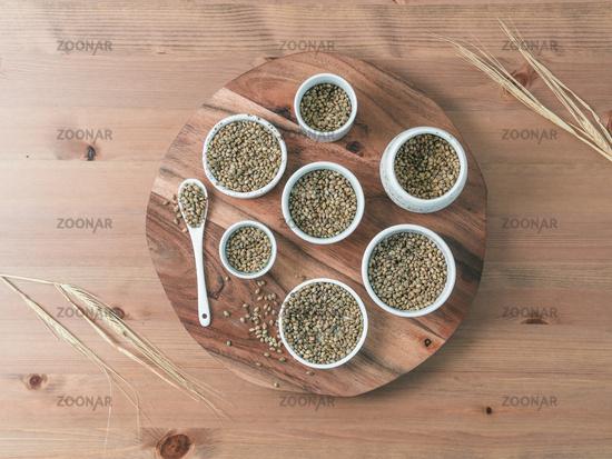 Hemp seeds flat lay copy space