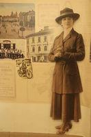 Vintage photo of woman standing in photo studio circa 1935