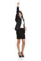 Successful business woman with hand on the air