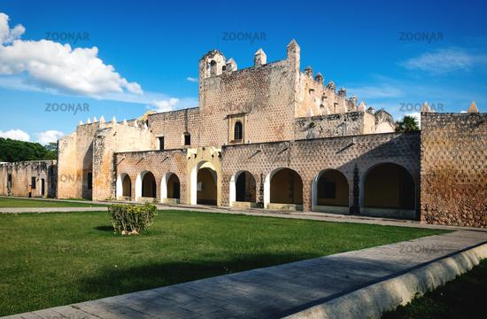 Facade of the Convent de San Bernardino de Siena in Valladolid, Yucatan, Mexico