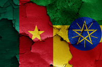flags of Cameroon and Ethiopia painted on cracked wall