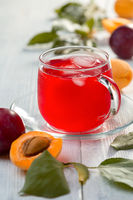 Homemade refreshing drink made from plums and apricots.