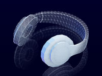 3D polygonal headphones with reflection on dark background.