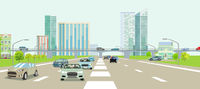 Expressways in front of a big city illustration