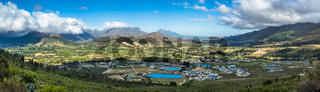 Panoramic view of Franschhoek Valley, wine growing region in South Africa