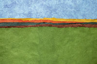 hills and green fields colorful abstract paper landscape